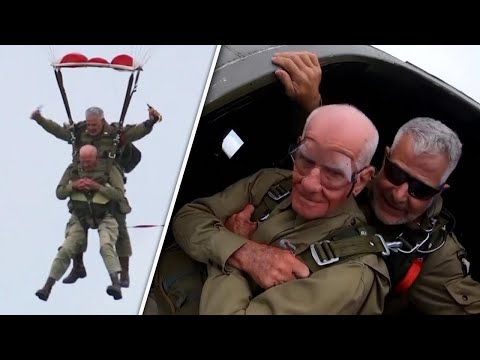 Rick and Kim - 97 year old veteran recreates jump in honor of his brothers in arms.