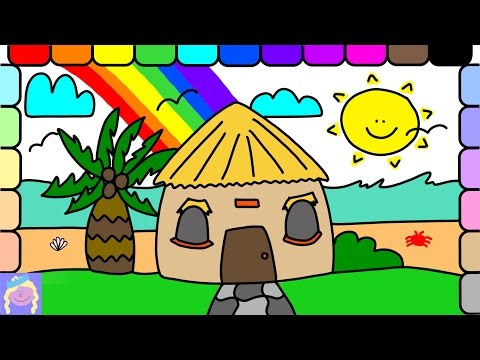 Learn How To Draw A Beach Hut | Easy Drawing And Coloring For Kids | Fun Learning Video