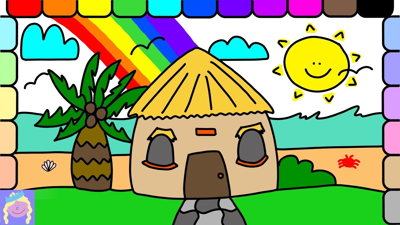 Learn How To Draw A Beach Hut With This Easy Drawing And Coloring Page For Kids