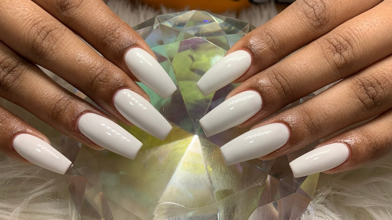 Simple White Gel Refill Acrylic Nails Youtube