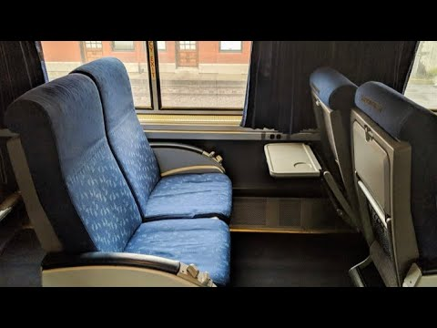 Amtrak coach seat features on a viewliner train