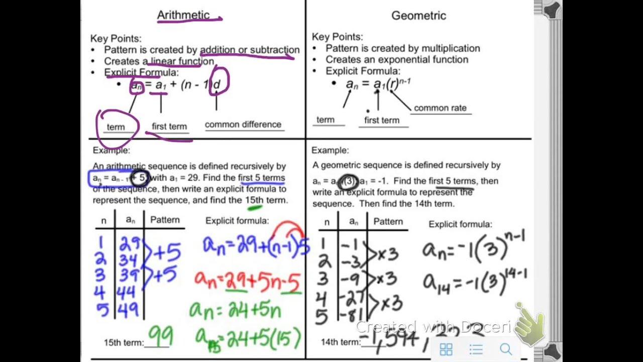 Geometric and arithmetic sequences recursive and explicit ...