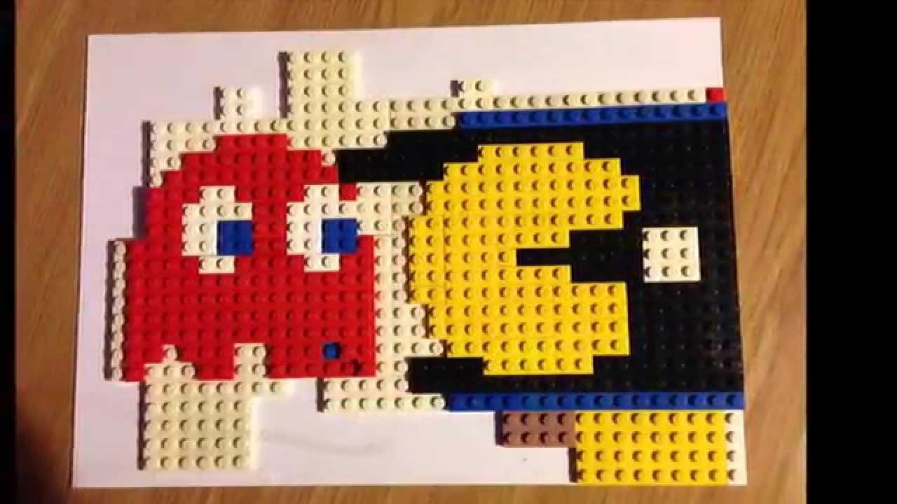 Lego pac man pixel art construction youtube - Lego modeles de construction ...