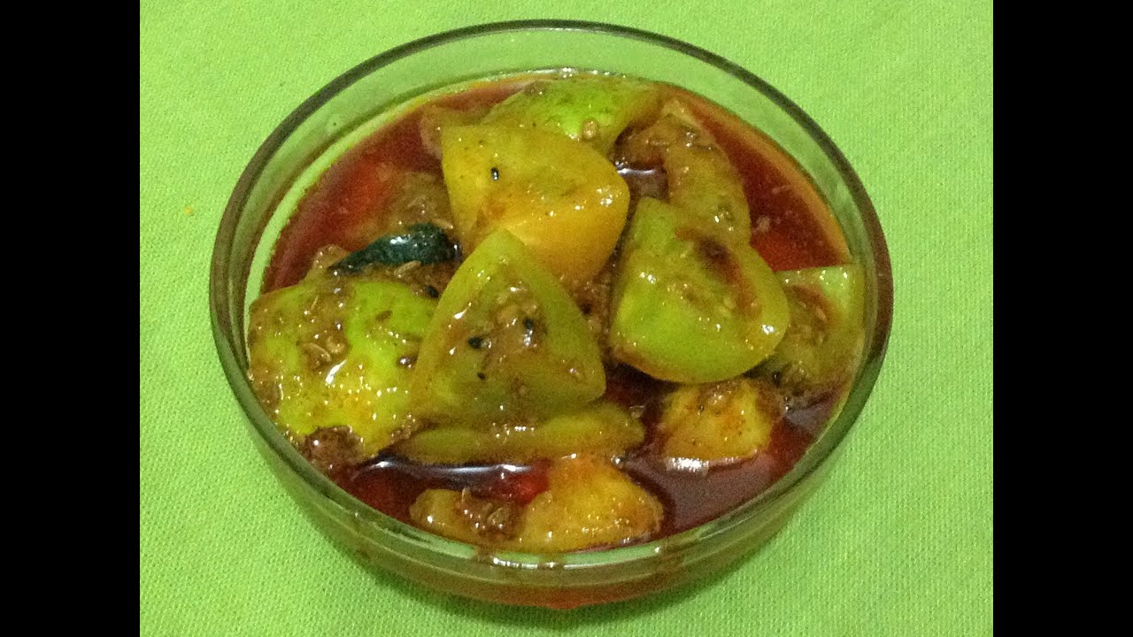 Green Tomato Indian Recipes green tomato pickle by chef shaheen ...