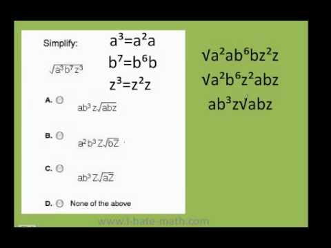 how to simplify radical expressions PERT test practice - YouTube