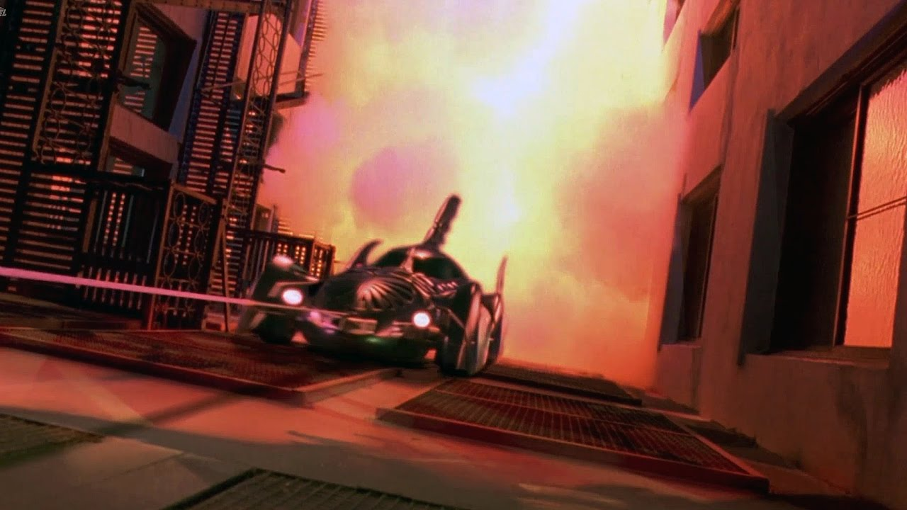 Image result for Batman Forever - Batmobile On The Building