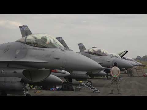 US F-16 And Philippine Air Force FA-50 Fighter Jet Take Off And Landing Maneuver