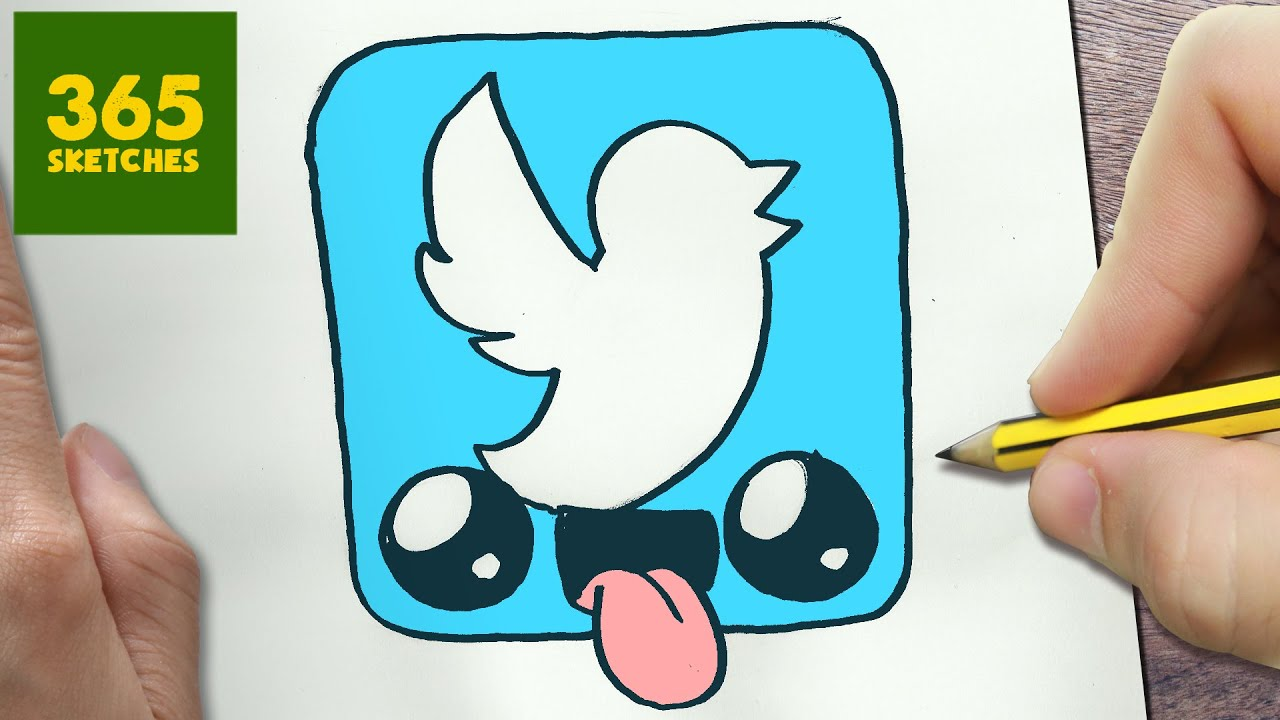 HOW TO DRAW A TWITTER LOGO CUTE, Easy step by step drawing ...