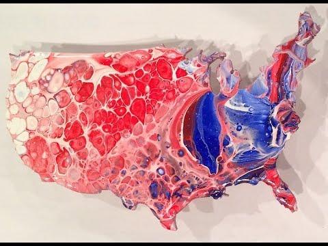 United States, fluid acrylic pour dividing colors, dirty pour, flip cup, cells