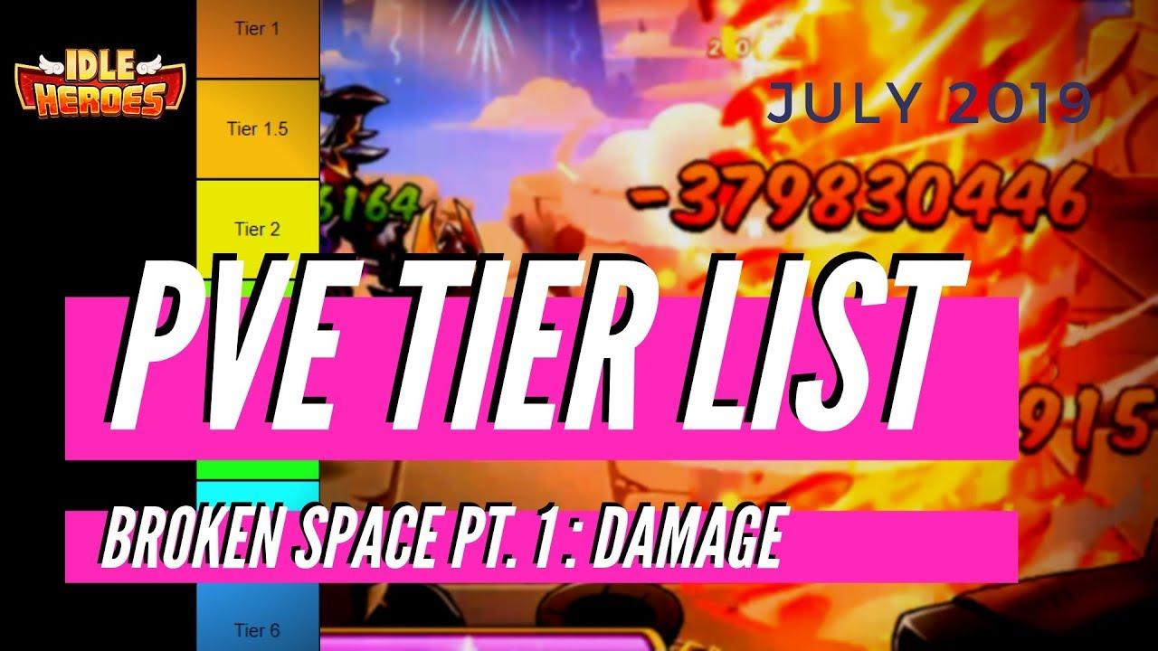 IDLE HEROES PVE Tier List [Broken Space] Role: [DAMAGE] July 2019