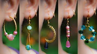 5 easy Pearl & Crystal Earring Design | DIY | 5 min Craft | Hand made jewelry | Crafty Butterfly 015