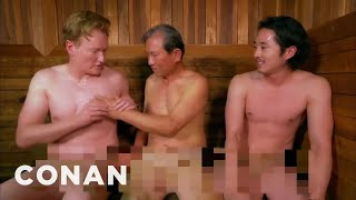 Steven Yeun & Conan Visit A Korean Spa  - CONAN on TBS(CONAN Highlight: Conan and