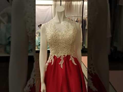 White Red Lace Evening Ball Gown