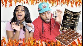 COUPLE TRIES THE WORLD'S HOTTEST CHOCOLATE BAR!!!! EXTREMELY HOT!!!!