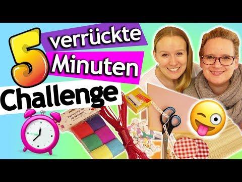 BASTEL CHALLENGE 5 Minuten mit VERRÜCKTEN Materialien | Eva vs. Kathis schnelle Bastelidee deutsch