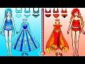 Paper Dolls Dress Up - Costumes Elsa Hot & Cold Dresses Handmade Quiet Book - Barbie Story & Crafts