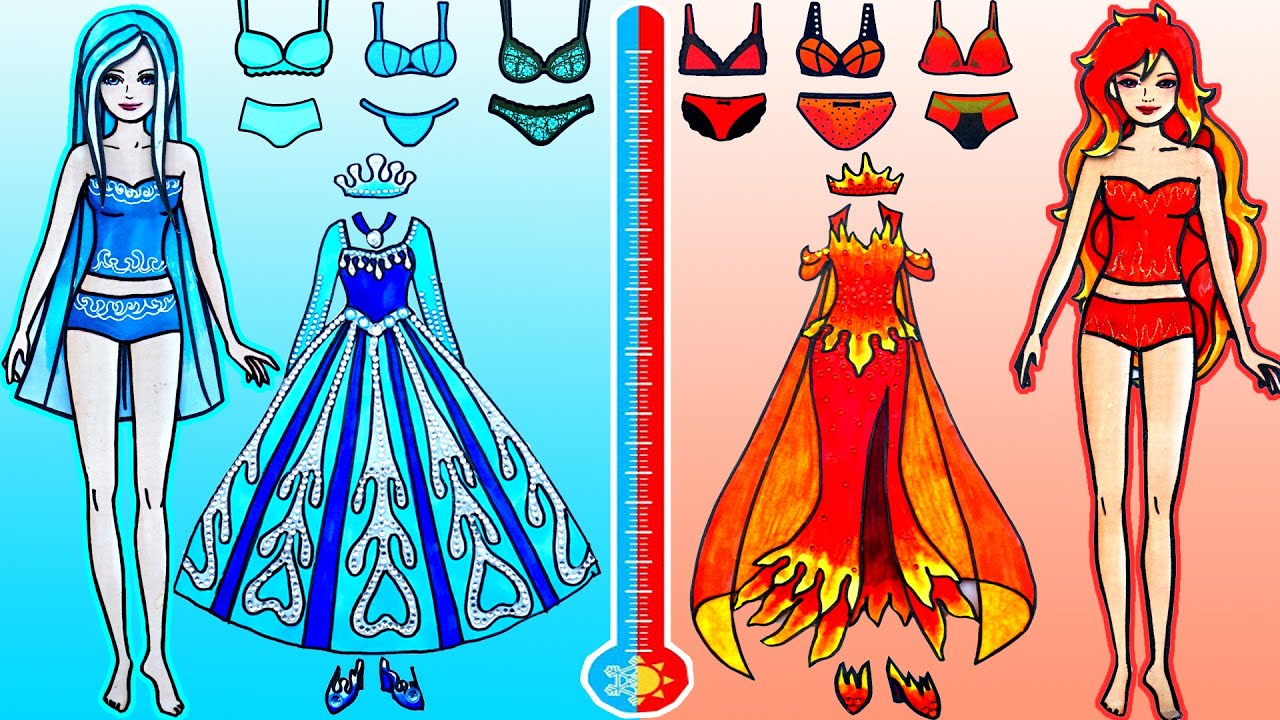 Download Paper Dolls Dress Up - Costumes Elsa Hot & Cold Dresses Handmade Quiet Book - Barbie Story & Crafts