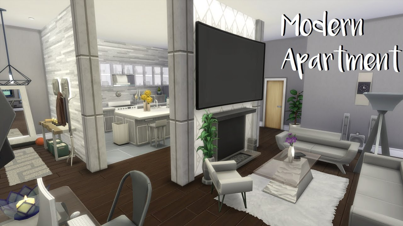 The sims 4 speed build modern apartment no cc youtube for Modern living room sims 4