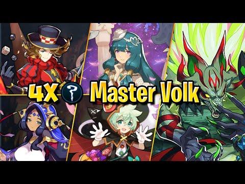 Masters Volk:  4x Healers/Staff Clear Gameplay | Dragalia Lost
