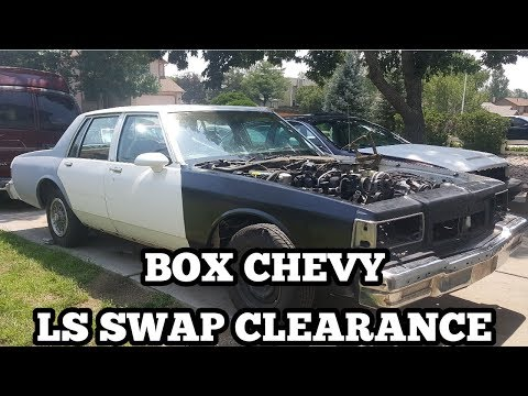 Showing The LS Swap Clearance On A Box Chevy