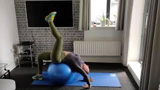 Stability Ball Wheel pose single leg raise