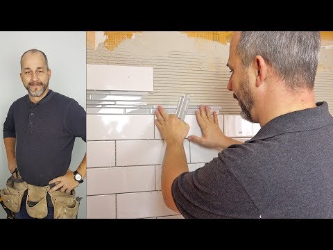 DIY Subway Tile Shower With Glass Mosaic