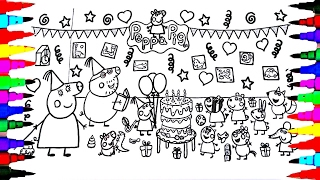 PEPPA PIG Coloring Book Pages Kids Fun Art Activities For Children Learning Rainbow Colors Party