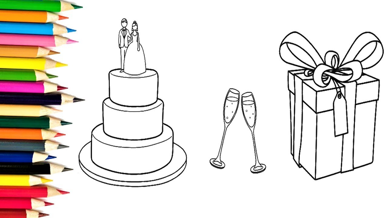 how to draw wedding cake wine glasses and gifts coloring pages
