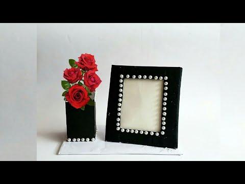 Diy photo frame with flower vase | photo frame ideas | room decoration ideas | #A131