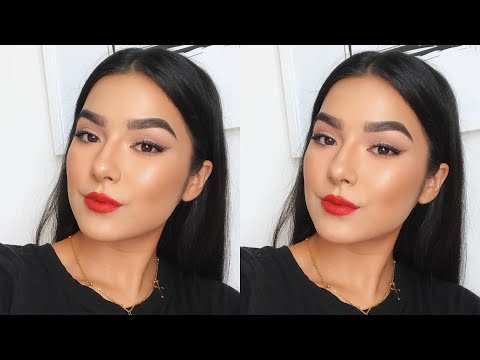 Glowy Summer Glam!   Bright Red Lip   Faye Claire