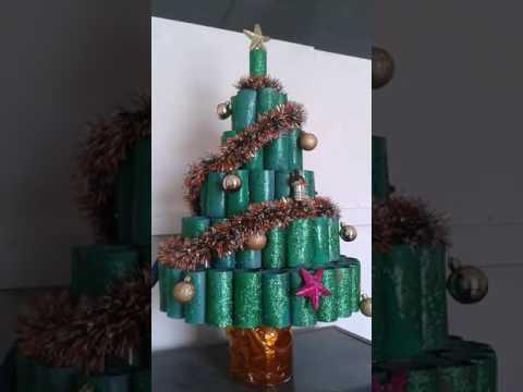 Rbol de navidad con rollos de papel higi nico youtube - Arboles de navidad de papel ...