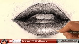 how to draw mouth lips for realistic portrait