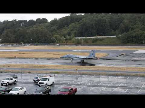 FOUR F-15 Fighter Jets Take Off From Boeing Field - Seattle, Washington