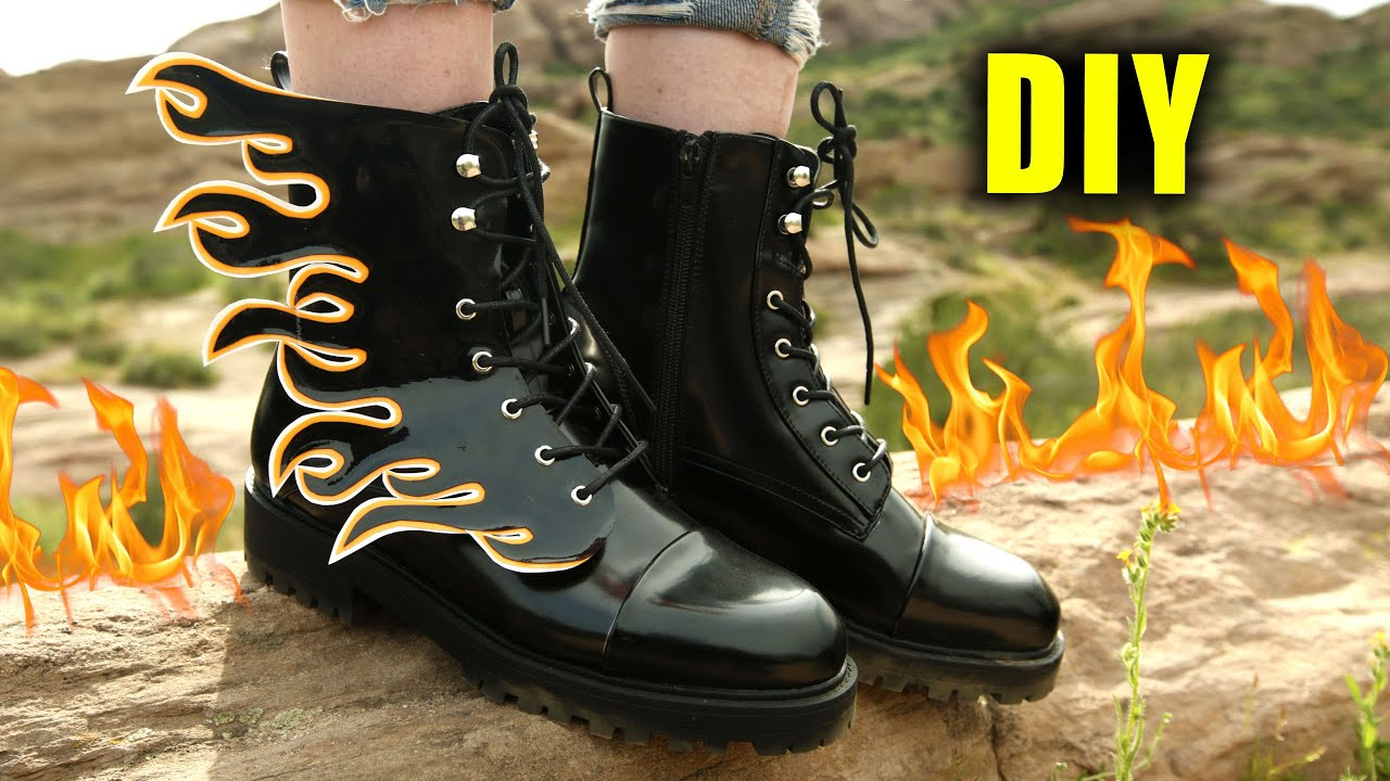f18934e9105 DIY DETACHABLE FLAME COMBAT BOOTS - NO SEW! || Lucykiins