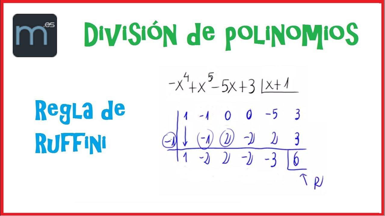 División de polinomios por la regla de Ruffini - YouTube