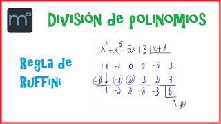 División de polinomios por la regla de Ruffini