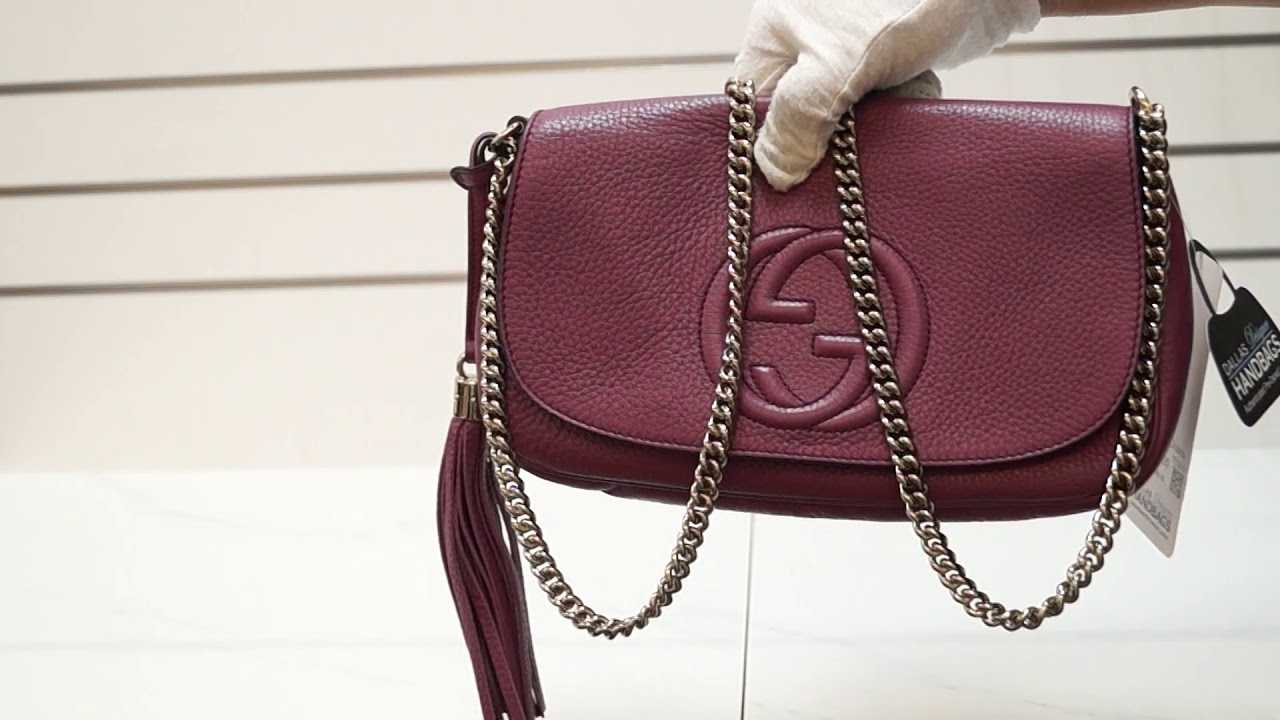 7b7c8af05a69 GUCCI Soho Chain Purple Leather Crossbody Bag TT3019 - YouTube