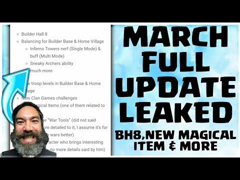 NEW MAGICAL ITEM+NEW TROOP LEVELS LEAKED! MARCH 2018 UPDATE CLASH OF CLANS•FUTURE T18