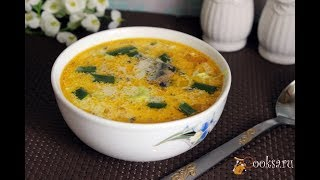 Быстрый суп из консервированной сайры со сметаной