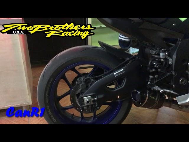 2016 Yamaha R1 TwoBrothers Racing Exhaust Sound. Sr1 Black.