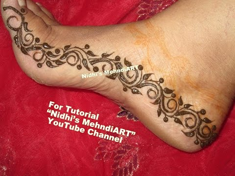 Diy Henna Mehndi Design For Feet Swirls Pattern Border Fro Leg With