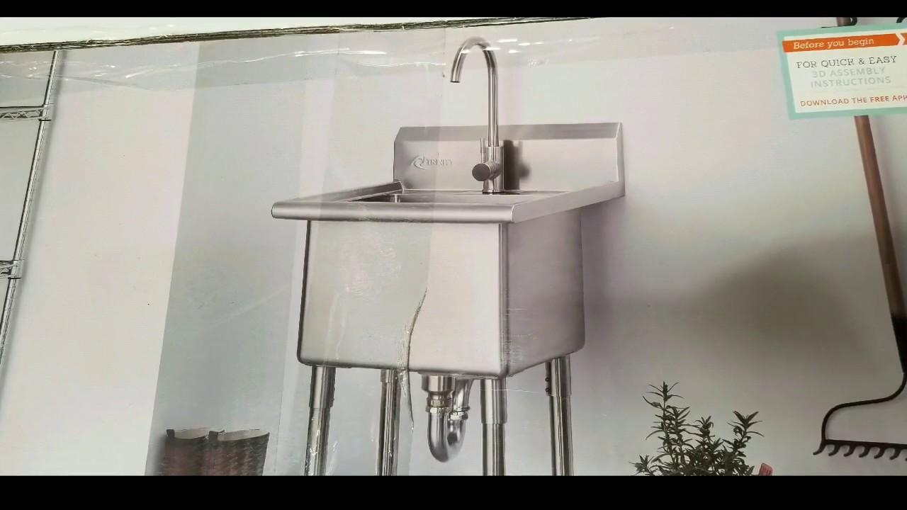 Costco Trinity Stainless Steel Utility Sink W Faucet 249 Youtube