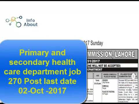Primary and secondary health care department job 270 Post last date 02 Oct  2017