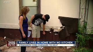 Family living in home with no kitchen helped by strangers
