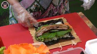 부산 원조 삼겹살김밥 - 한국 길거리음식 / Original Pork Belly Gimbap (Samgyupsal Rice Roll) - Korean Street Food