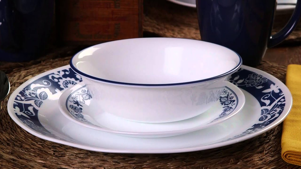 & Corelle - True Blue 16 Piece Dinnerware Set - YouTube