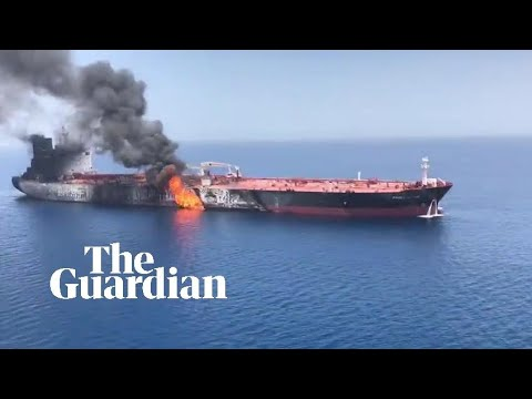 Oil tanker filmed ablaze in the Gulf of Oman