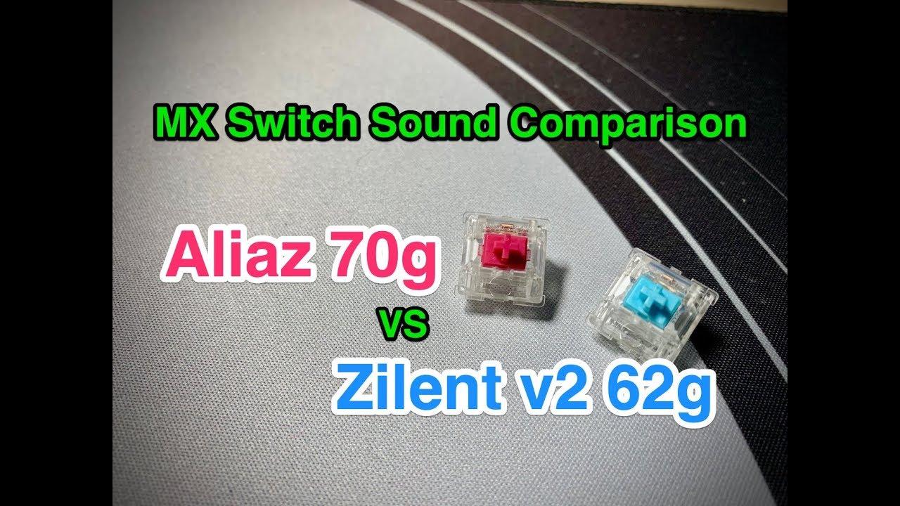 Aliaz 70g vs Zilent v2 62g keyboard switch sound test on KBD67