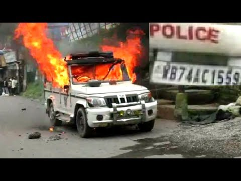 Police Vehicle Torched In Darjeeling Today