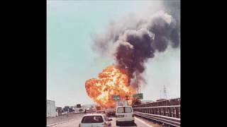 Gewaltige Explosion bei Bologna - Tanklastwagen explodiert auf Autobahn